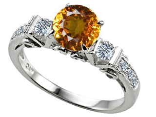 Star K Classic 3 Stone Ring With Round 7mm Genuine Citrine