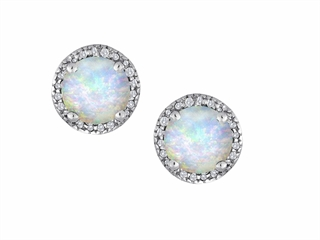 Star K Round 7mm Created Opal Halo Earring Studs