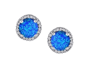 Star K Round 7mm Blue Created Opal Halo Earring Studs