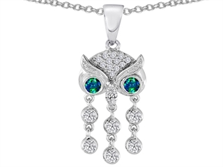 Star K Round Simulated Emerald Good Luck Owl Dangling Pendant Necklace