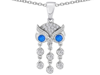Star K Round Blue Created Opal Good Luck Owl Dangling Pendant Necklace