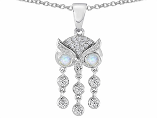 Star K Round Created Opal Good Luck Owl Dangling Pendant Necklace