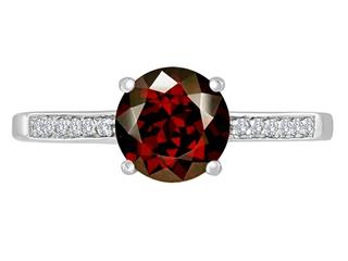 Original Star K Round 7mm Genuine Garnet Solitaire Engagement Ring