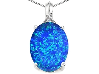 Tommaso Design Oval 12x10mm Simulated Blue Opal Pendant Necklace