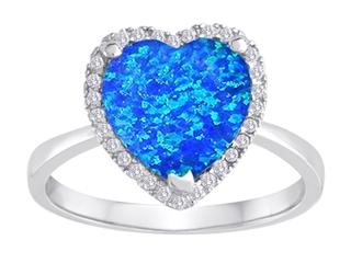 Original Star K Heart Shape Simulated Blue Opal Halo Ring