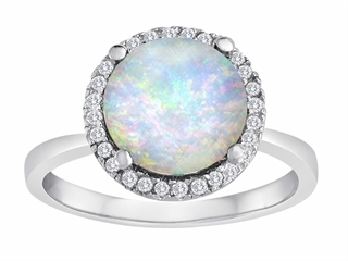 Star K Round Simulated Opal Halo Ring