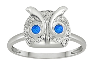 Star K Round Simulated Blue Opal Good Luck Owl Ring