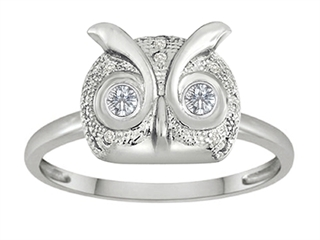 Star K Round White Topaz Good Luck Owl Ring