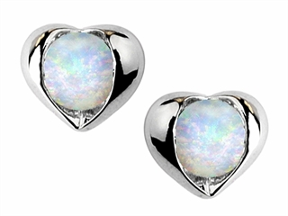 Star K Round 6mm Created Opal Heart Earrings