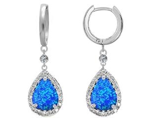 Star K Pear Shape Blue Created Opal Drop Earrings dangling on Huggie Hoop