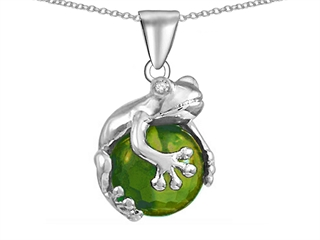 Star K Frog Pendant Necklace With 10mm Simulated Green Tourmaline Ball