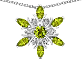 Star K Simulated Green Tourmaline Snowflake Pendant Necklace
