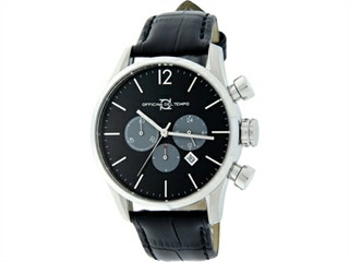 Officina Del Tempo Style Minimal 46mm Chronograph Leather Band (OT1033/1100N) Made in Italy