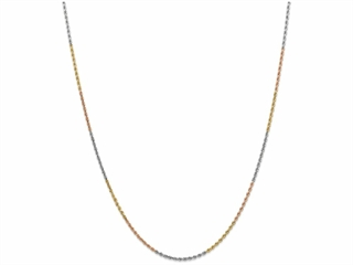 9 Inch 14k Tri-color 1.8mm bright-cut Rope Chain Ankle Bracelet (Smaller Ankles)