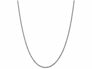 9 Inch 14k White Gold 2.5mm bright-cut Rope Chain Ankle Bracelet (Smaller Ankles)
