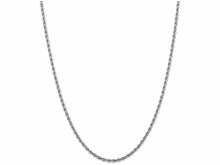 9 Inch 14k White Gold 2.9mm bright-cut Rope Chain Ankle Bracelet (Smaller Ankles)