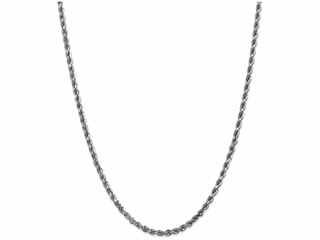 9 Inch 14k White Gold 3.5mm bright-cut Rope Chain Ankle Bracelet (Smaller Ankles)