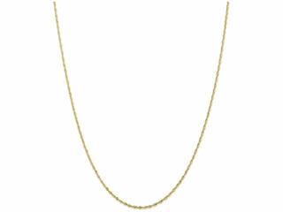This alluring 10 Inch 10k 1.5mm bright-cut Extra-lite Rope Chain Ankle Bracelet, crafted in 10 kt Yellow Gold. This design measures 1.50 mm wide, 10.00 Inches long.