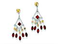 Sterling Silver Garnet and Citrine Dangle Earrings