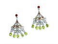 Sterling Silver Garnet, Citrine and Peridot Dangle Earrings