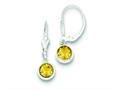 Sterling Silver Citrine Leverback Earrings