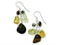 Sterling Silver Citrine/crystal/tiger's Eye Earrings
