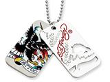 Ed Hardy Tattoo 2-piece Dog Tag Painted Necklace Style #EHF100