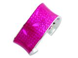 Sterling Silver 30mm Polished Pink Resin Cuff Bangle Bracelet Style #QB160