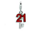 Amore LaVita™ Sterling Silver 3-D Enameled Swarovski Crystal 21 and Key w/Lobster Clasp Charm for Ch Style #QCC107