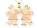 The Kids® Small Double Girls Engraveable Charm / Pendant Style #XK423