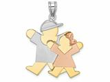 The Kids® Big Boy and Little Girl Engraveable Charm / Pendant Style #XK642
