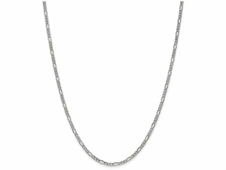 18 Inch 14k 2.5mm White Gold Figaro Hollow Chain Necklace