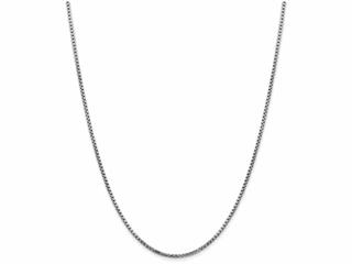 24 Inch 14k White Gold 1.75mm Round Box Chain Necklace