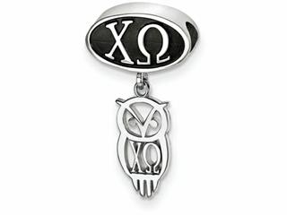 LogoArt Sterling Silver Chi Omega Oval Bead Charm With Owl Dangle Bead Charm