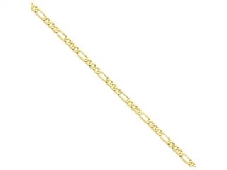 9 Inch 14k 5.25mm Flat Figaro Chain Ankle Bracelet (Smaller Ankles)