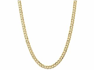 7 Inch 14k 6.75mm Open Concave Curb Chain Bracelet