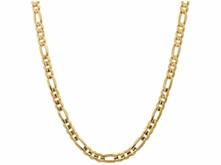 9 Inch 14k 7.5mm Concave Open Figaro Chain Ankle Bracelet (Smaller Ankles)