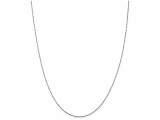 9 Inch 14k White Gold 1mm bright-cut Ball + Bar Pendant Chain Ankle Bracelet (Smaller Ankles)