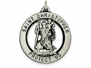 Sterling Silver St. Christopher Medal Pendant Necklace - Chain Included