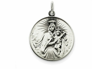 Sterling Silver Antiqued Our Lady Of The Holy Scapular Medal Pendant Necklace - Chain Included