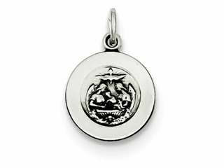 Sterling Silver Antiqued Baptismal Medal Pendant Necklace - Chain Included