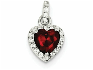 Sterling Silver Red Cubic Zirconia Heart Pendant Necklace - Chain Included