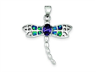 Sterling Silver Blue Inlay Created Opal Dragonfly Oval Amethyst Pendant Necklace - Chain Included