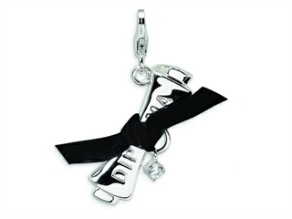 Amore LaVita Sterling Silver 3-D CZ Ribboned Diploma w/Lobster Clasp Charm (Fabric ribbon) for Charm Bracelet