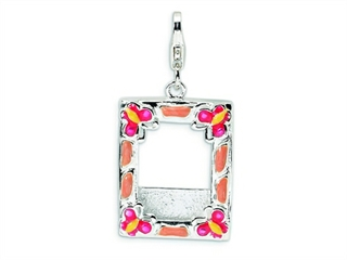 Amore LaVita Sterling Silver 3-D Enameled Photo Frame w/Lobster Clasp Charm (Can insert photo) for Charm Bracelet