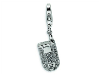 Amore LaVita Sterling Silver Flip Cell Phone CZ w/Lobster Clasp Charm (Moveable) for Charm Bracelet