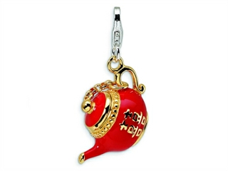 Amore LaVita Sterling Silver 3-D Enameled Tea Pot w/Lobster Clasp Charm (Moveable) for Charm Bracelet