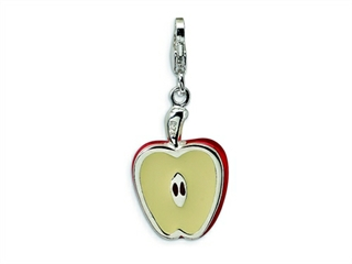 Amore LaVita Sterling Silver 3-D Enameled Apple w/Lobster Clasp Bracelet Charm