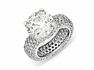 Cheryl M Sterling Silver Fancy CZ Pave Ring