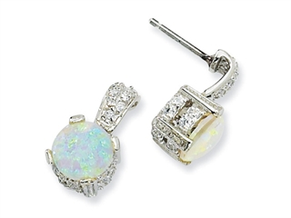 Cheryl M Sterling Silver 8mm Simulated Opal Cabochon and CZ Dangle Post Earrings